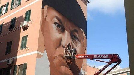 Genova, il ritratto di Fantozzi appare sull'edificio: l'arte a cielo aperto