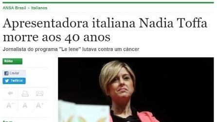 La notizia della morte di Nadia Toffa sui giornali esteri