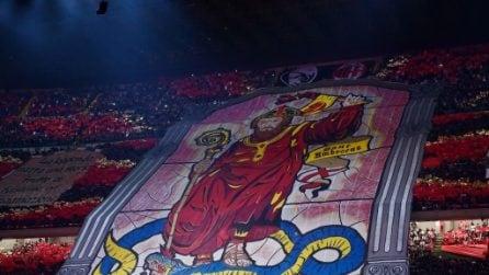 Milan-Inter, la coreografia: Sant'Ambrogio schiaccia il Biscione