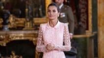 L'abito rosa di Letizia Ortiz per la Festa Nazionale di Spagna