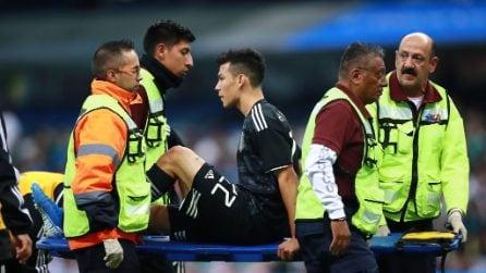 Hirving Lozano infortunato in nazionale, colpo alla caviglia