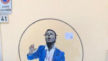 Leopolda, a Firenze i nuovi murales di Tvboy: l'ironia su Renzi e Italia Viva