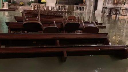 Venezia, Chiesa di San Moisè completamente sommersa: acqua record