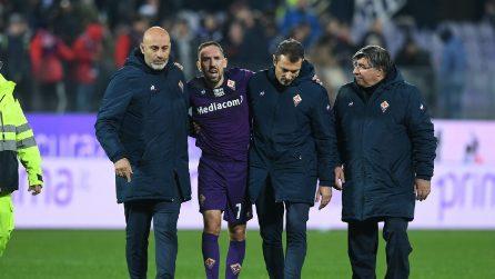 Fiorentina-Lecce, le immagini dell'infortunio a Ribery