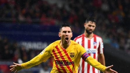 Messi decide Atletico Madrid-Barcellona, le immagini del match