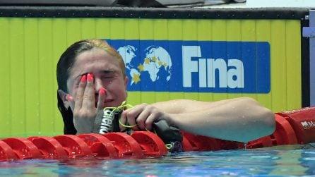 Benedetta Pilato, la commozione dopo la vittoria all'Europeo di Nuoto