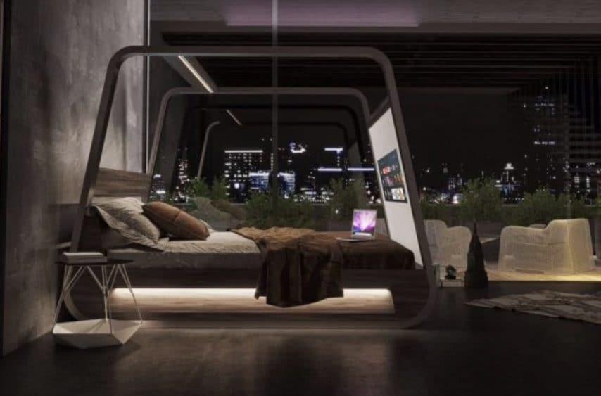 """HiBed è il letto intelligente ideato dall'architetto e designer italiano Fabio Vinella per il """"binge-watching"""" che si riferisce alla pratica di guardare serie e programmi televisivi per un periodo di tempo consecutivo molto lungo."""