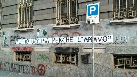 """Milano, sui muri spuntano striscioni choc contro i femminicidi: """"L'ho uccisa perché l'amavo"""""""