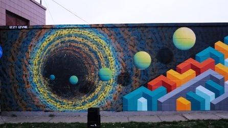 Murales che sembrano portali nei muri verso mondi paralleli