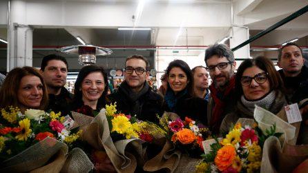Virginia Raggi visita il Mercato Trieste dopo i lavori di riqualificazione