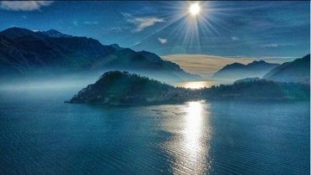 L'alba sul lago di Como: le bellissime immagini catturate dal drone