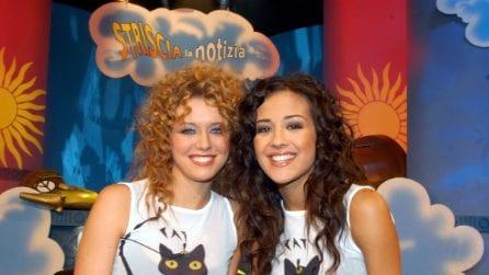 Le veline Giorgia Palmas e Elena Barolo ieri e oggi, un'amicizia iniziata sul bancone di Striscia