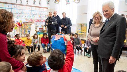 Coronavirus Roma: il presidente Sergio Mattarella visita una scuola dell'Esquilino