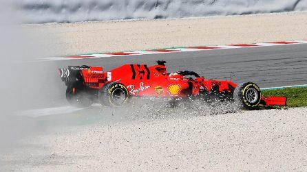 F1, le foto del testacoda di Vettel con la nuova aerodinamica Ferrari