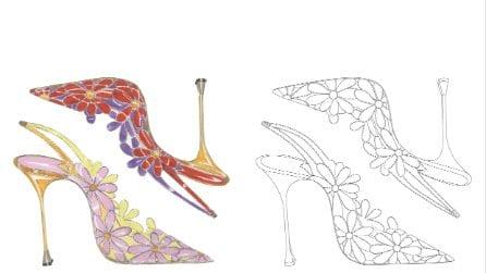 Manolo Blahnik, i bozzetti delle scarpe da colorare