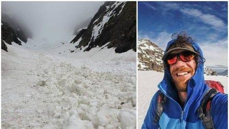 Incidente in montagna: le immagini della valanga che ha travolto l'alpinista Matteo Bernasconi