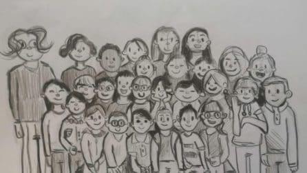 """""""Quest'anno la foto di classe la faccio io""""; il commovente disegno di un bimbo delle elementari"""