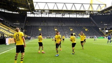 Erling Haaland segna il primo gol della nuova Bundesliga: esultanza con distanziamento