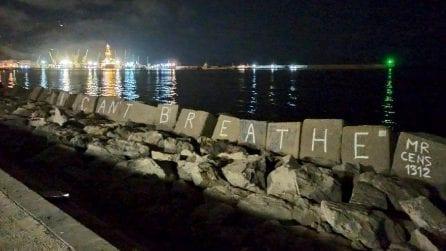 """""""I can't breathe"""", la scritta per George Floyd compare a Palermo"""