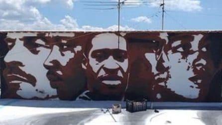 Il volto di George Floyd nell'ultimo murales di Jorit