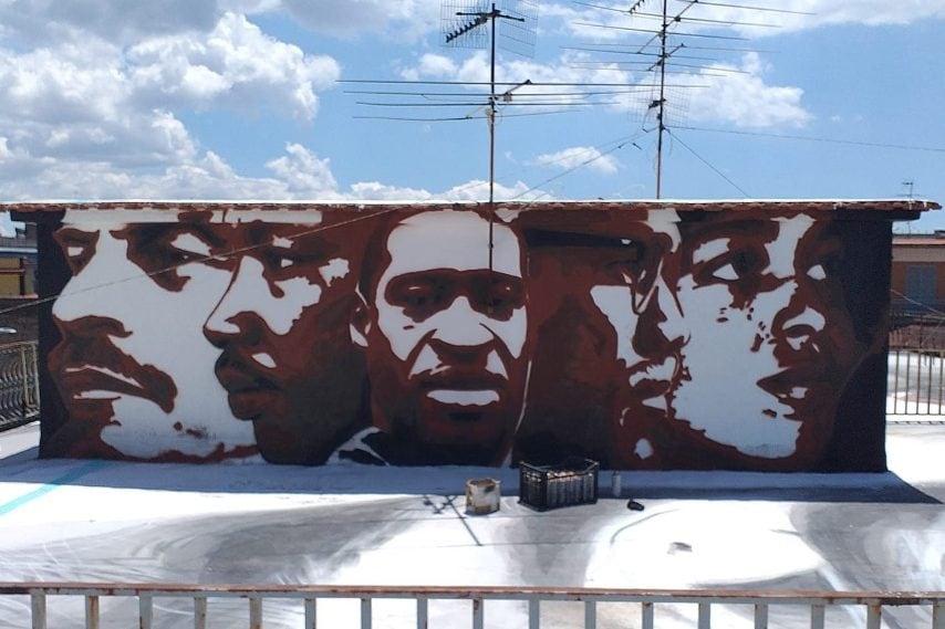 Napoli, Italia. L'ultimo murales dell'artista Jorit.