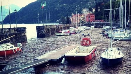 Lago di Como, il porto di Bellano è pieno di detriti dopo le abbondanti piogge