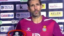 Diego Lopez parla a fine partita: il microfono dell'intervista non passa inosservato