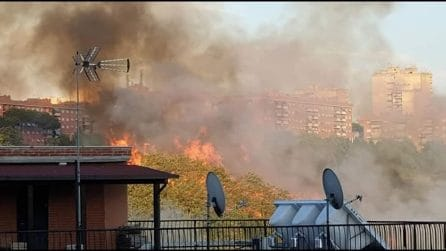 Incendio al parco delle Betulle, in fiamme la collina di Serpentara