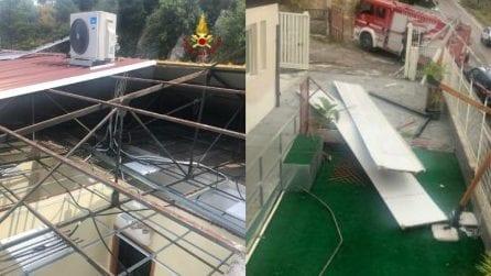 Nubifragio e tromba d'aria nel catanese, scoperchiato il tetto di una casa di riposo