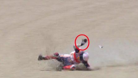 L'incidente di Marc Marquez a Jerez, la caduta ha provocato la frattura dell'omero destro