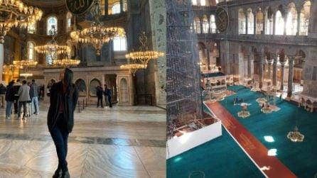 Istanbul, tappeti colorati coprono i pavimenti della basilica di Santa Sofia