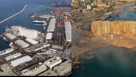 Il porto di Beirut prima e dopo l'esplosione: edifici e palazzi rasi al suolo