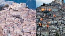 Lo splendido paesino arrampicato sulla collina: il panorama sembra un presepe