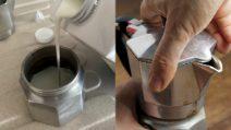 Cosa accade se versiamo il latte nella moka?