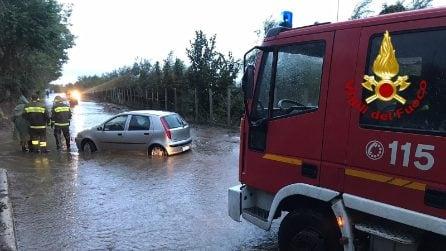 Maltempo Avellino, strade allagate, automobilisti bloccati in auto e alberi caduti