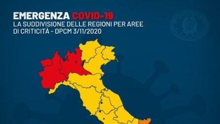 Le Regioni suddivise nelle tre aree di criticità previste dal nuovo DPCM