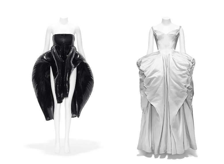 (Left) Timeline: Iris Van Herpen (Dutch, born 1984). Dress, fall/winter 2012–13 haute couture. Gift of Iris Van Herpen, in honor of Harold Koda, 2016 (2016.185) (Right) Interruption: Charles James (American [born Great Britain], 1906–1978). Ball Gown, 1951. Gift of the Brooklyn Museum, 2009, Gift of Mr. and Mrs. Robert Coulson, 1964 (2009.300.1311)