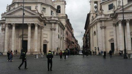 Da Piazza del Popolo ai Fori Imperiali: il centro di Roma sorvegliato contro gli assembramenti
