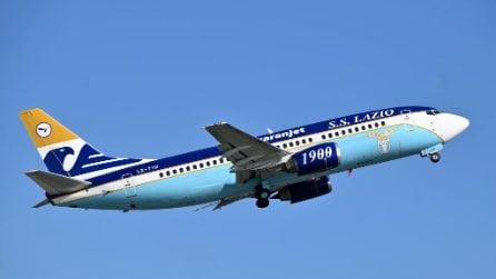 Le immagini del nuovo aereo privato della Lazio