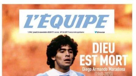 """Morte Maradona, le prime pagine del giornali. L'Equipe titola: """"Dio è morto"""""""