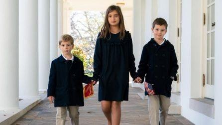 Ivanka Trump con i tre figli (in coordinato) alla Casa Bianca