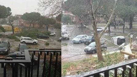 Roma, tromba d'aria si abbatte su Cerveteri: alberi caduti e auto ribaltate