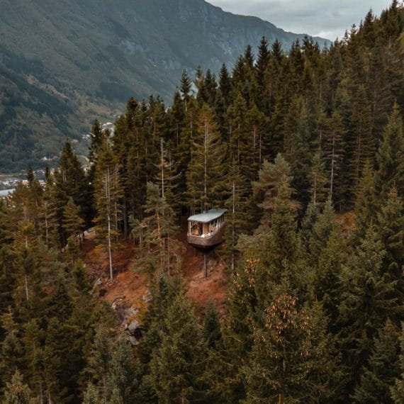 """Lo studio di architettura norvegese Helen & Hard ha costruito una casa sull'albero unica sulle colline boscose sopra Odda, in Norvegia. Il progetto nasce dal desiderio del cliente di vivere un'esperienza spaziale unica immerso nella natura: """"Woodnest collega sia l'ordinaria che la straordinaria sensazione di arrampicata e di esplorare gli alberi,"""" spiegano gli architetti, """"il nostro obiettivo era quello di creare uno spazio che veramente incarna ciò che significa abitare in natura. Il viaggi"""
