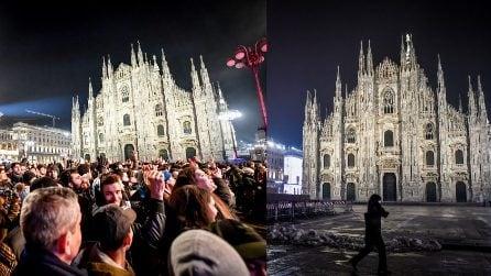 Milano, piazza del Duomo è deserta: la differenza con il Capodanno 2020