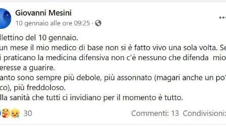 Il diario dall'ospedale di Giovanni Mesini