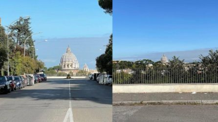 """Roma, """"l'illusione ottica"""" di via Piccolomini"""