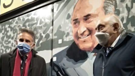 Ferlaino nel murales della stazione Cumana Mostra-Maradona