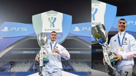 Cristiano Ronaldo celebra la Supercoppa Italiana