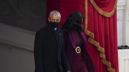 Michelle Obama con il completo burgundy all'Inauguration Day