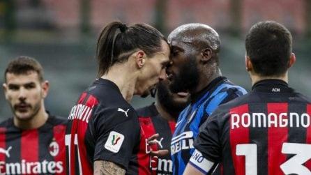 La rissa tra Ibrahimovic e Lukaku nel derby di Coppa Italia